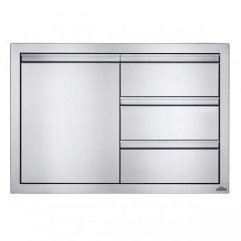 Встраиваемый элемент с 3-мя выдвижными ящиками и отсеком с дверью, малый 91х61 см