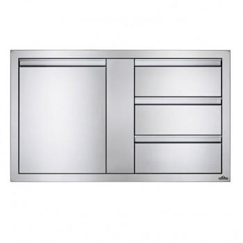 Встраиваемый элемент с 3-мя выдвижными ящиками и отсеком с дверью, большой 107х61 см