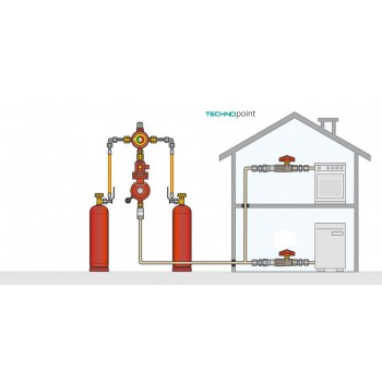 Газобаллонная установка GOK на 2 баллона с редуктором  4 кг/час 37 мбар автоматический переключатель